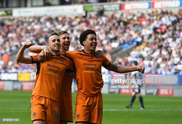 Diogo Jota of Wolverhampton Wanderers celebrates after scoring a goal to make it 03 during the Sky Bet Championship match between Bolton Wanderers...