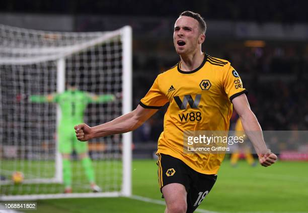 Diogo Jota of Wolverhampton Wanderers celebrates after scoring his team's second goal during the Premier League match between Wolverhampton Wanderers...