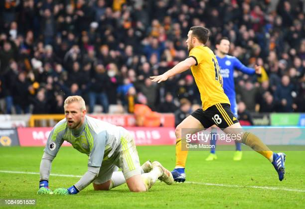 Diogo Jota of Wolverhampton Wanderers celebrates after scoring his sides fourth goal during the Premier League match between Wolverhampton Wanderers...