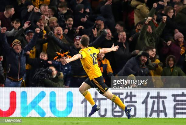 Diogo Jota of Wolverhampton Wanderers celebrates after scoring his team's second goal during the FA Cup Quarter Final match between Wolverhampton...