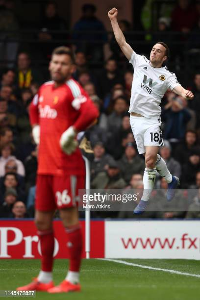 Diogo Jota of Wolverhampton Wanderers celebrates after scoring his team's second goal during the Premier League match between Watford FC and...