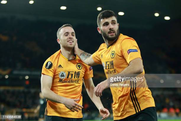 Diogo Jota of Wolverhampton Wanderers celebrates after scoring his team's first goal during the UEFA Europa League group K match between...