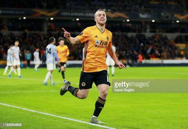Diogo Jota of Wolverhampton Wanderers celebrates after scoring his team's fourth goal during the UEFA Europa League group K match between...