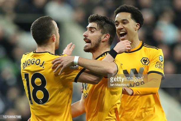 Diogo Jota of Wolverhampton Wanderers celebrates scoring his team's opening goal during the Premier League match between Newcastle United and...