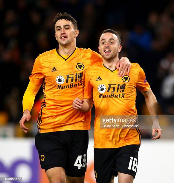 Diogo Jota of Wolverhampton Wanderers celebrates scoring his teams first goal during the UEFA Europa League group K match between Wolverhampton...