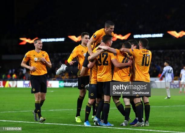 Diogo Jota of Wolverhampton Wanderers celebrates scoring his teams second goal during the UEFA Europa League group K match between Wolverhampton...