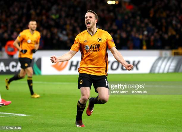 Diogo Jota of Wolverhampton Wanderers celebrates scoring his teams first goal during the UEFA Europa League round of 32 first leg match between...