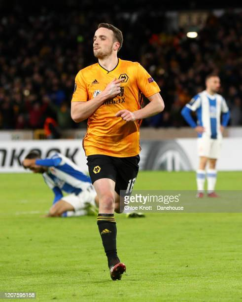 Diogo Jota of Wolverhampton Wanderers celebrates scoring his teams fourth goal during the UEFA Europa League round of 32 first leg match between...