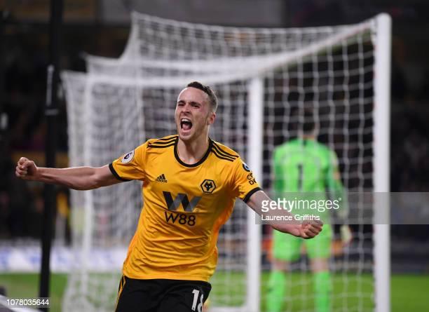 Diogo Jota of Wolverhampton Wanderers celebrates scoring the winning goal during the Premier League match between Wolverhampton Wanderers and Chelsea...