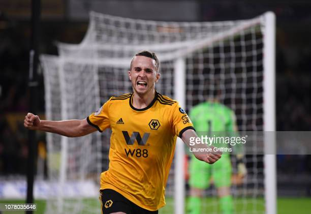 Diogo Jota of Wolverhampton Wanderers celebrates scoring the winning goal during the Premier League match between Wolverhampton Wanderers and Chelsea...