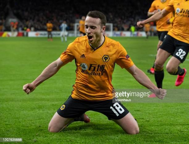 Diogo Jota of Wolverhampton Wanderers celebrates scoring their third goal during the UEFA Europa League round of 32 first leg match between...