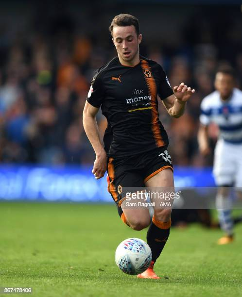 Diogo Jota of Wolverhampton Wanderers during the Sky Bet Championship match between Queens Park Rangers and Wolverhampton at Loftus Road on October...