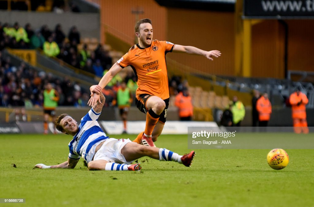 Diogo Jota of Wolverhampton Wanderers during the Sky Bet Championship match between Wolverhampton and Queens Park Rangers at Molineux on February 10, 2018 in Wolverhampton, England.