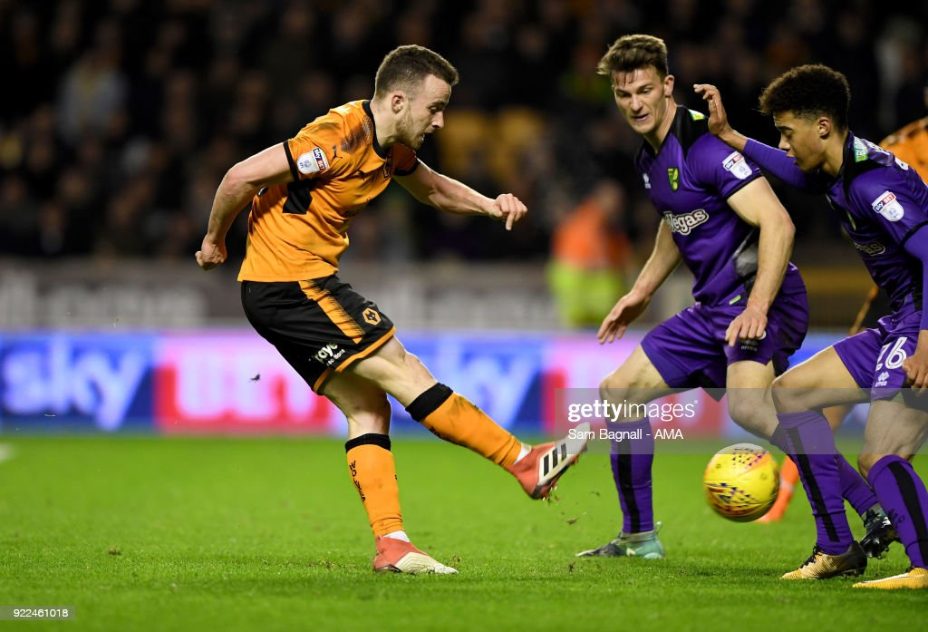 Diogo Jota of Wolverhampton Wanderers during the Sky Bet Championship match between Wolverhampton Wanderers and Norwich City at Molineux on February 20, 2018 in Wolverhampton, England.