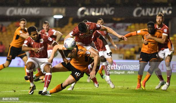 Diogo Jota of Wolverhampton Wanderers is fouled by Callum O'Dowda of Bristol City during the Sky Bet Championship match between Wolverhampton and...