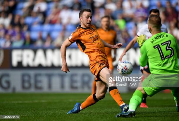 Diogo Jota of Wolverhampton Wanderers scores a goal to make it 03 during the Sky Bet Championship match between Bolton Wanderers and Wolverhampton...