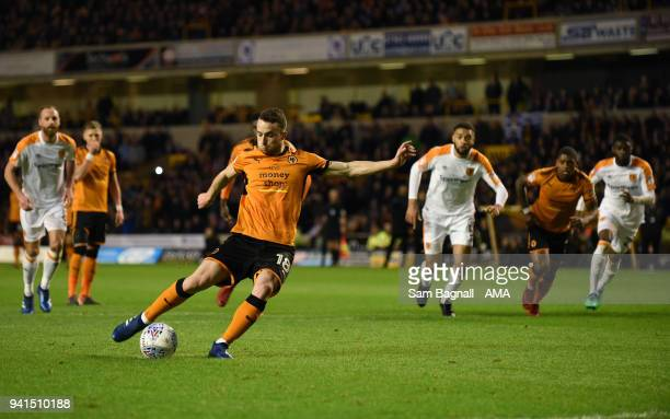 Diogo Jota of Wolverhampton Wanderers scores a goal to make it 10 from a penalty kick during the Sky Bet Championship match between Wolverhampton...