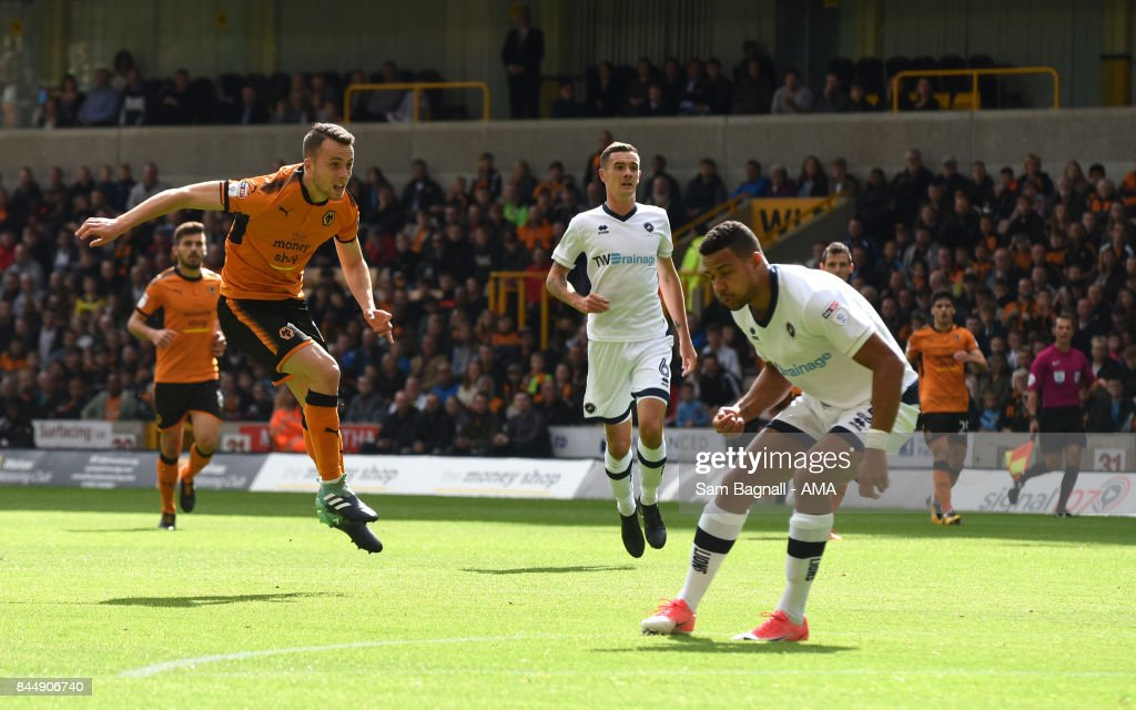 Diogo Jota of Wolverhampton Wanderers scores a goal to make it 1-0 during the Sky Bet Championship match between Wolverhampton and Millwall at Molineux on September 9, 2017 in Wolverhampton, England.