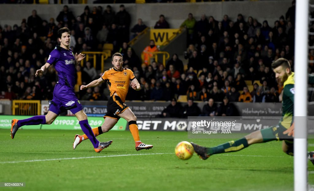 Diogo Jota of Wolverhampton Wanderers scores a goal to make it 1-0 during the Sky Bet Championship match between Wolverhampton Wanderers and Norwich City at Molineux on February 20, 2018 in Wolverhampton, England.