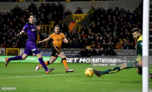 Diogo Jota of Wolverhampton Wanderers scores a goal to make it 10 during the Sky Bet Championship match between Wolverhampton Wanderers and Norwich...
