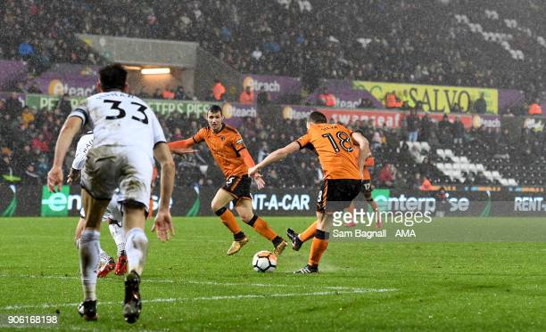 Diogo Jota of Wolverhampton Wanderers scores a goal to make it 11 during The Emirates FA Cup Third Round Replay between Swansea City and...