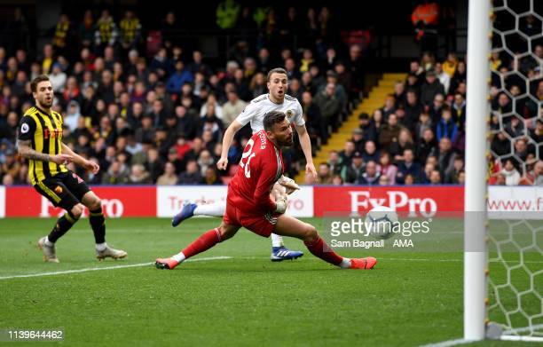 Diogo Jota of Wolverhampton Wanderers scores a goal to make it 12 during the Premier League match between Watford FC and Wolverhampton Wanderers at...