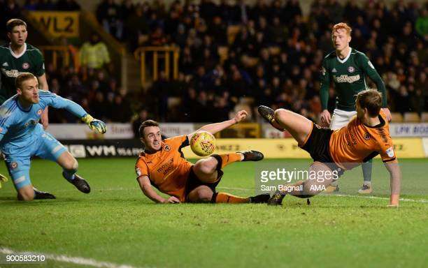 Diogo Jota of Wolverhampton Wanderers scores a goal to make it 30 during the Sky Bet Championship match between Wolverhampton and Brentford at...