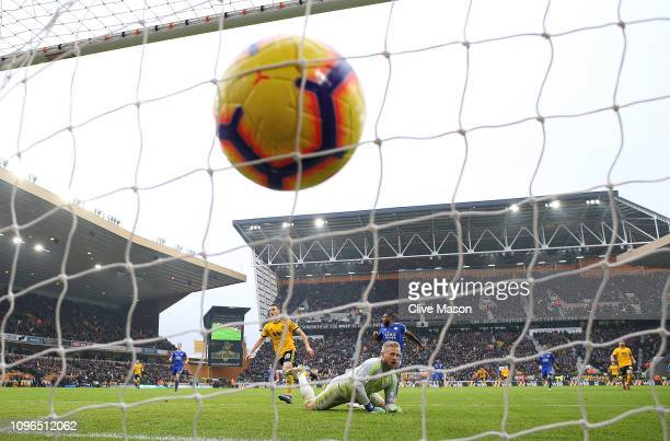 Diogo Jota of Wolverhampton Wanderers scores his sides fourth goal during the Premier League match between Wolverhampton Wanderers and Leicester City...