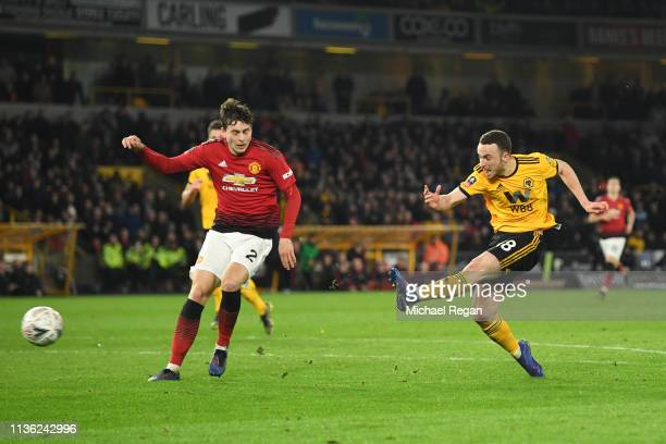 Diogo Jota of Wolverhampton Wanderers scores his team's second goal during the FA Cup Quarter Final match between Wolverhampton Wanderers and...