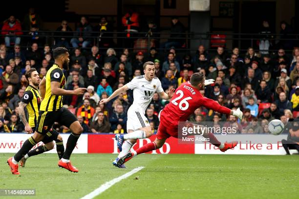Diogo Jota of Wolverhampton Wanderers scores his team's second goal past Ben Foster of Watford during the Premier League match between Watford FC and...