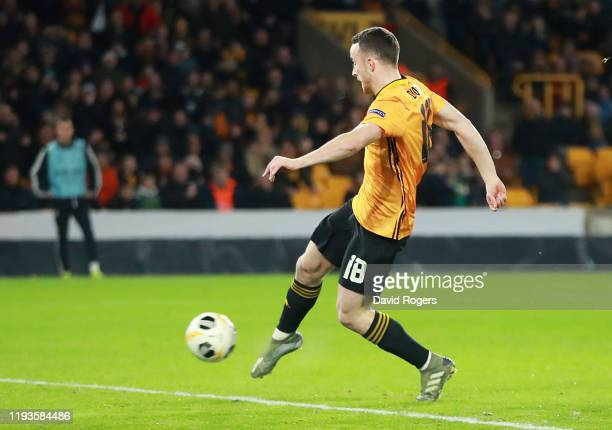 Diogo Jota of Wolverhampton Wanderers scores his team's second goal during the UEFA Europa League group K match between Wolverhampton Wanderers and...