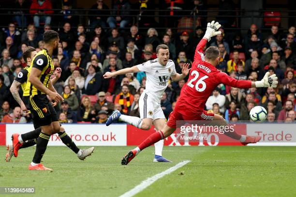 Diogo Jota of Wolverhampton Wanderers scores their 2nd goal during the Premier League match between Watford FC and Wolverhampton Wanderers at...