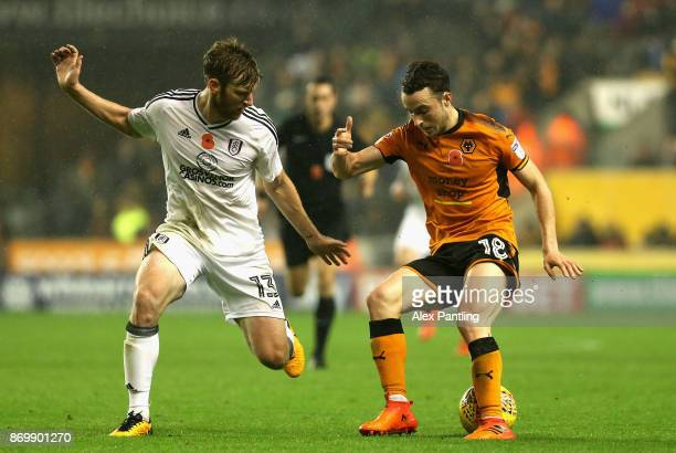 Diogo Jota of Wolverhampton Wanderers takes on Tim Ream of Fulham during the Sky Bet Championship match between Wolverhampton Wanderers and Fulham at...