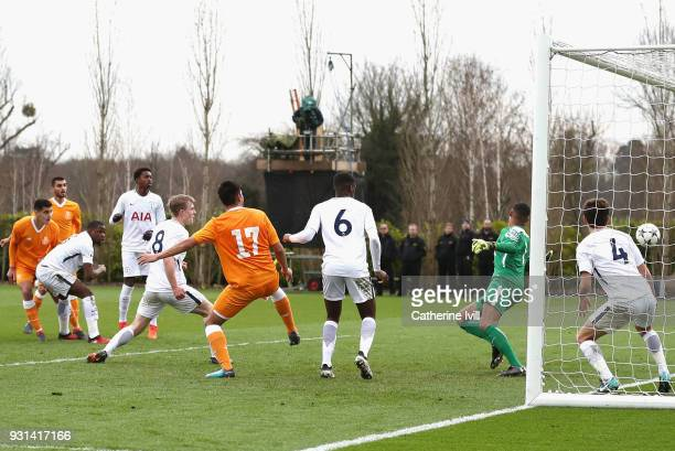 Diogo Leite of FC Porto scores his sides first goal during the UEFA Youth League group H match between Tottenham Hotspur and FC Porto at on March 13...
