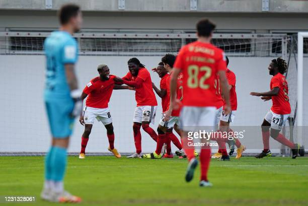 Diogo Mendes of SL Benfica B celebrates with teammates after scoring a goal during the Liga 2 Sabseg match between SL Benfica B and CD Mafra at...