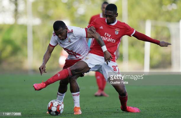 Diogo Mendes of SL Benfica B with Wilson Santos of UD Vilafranquense in action during the Liga Pro match between SL Benfica B and UD Vilafranquense...