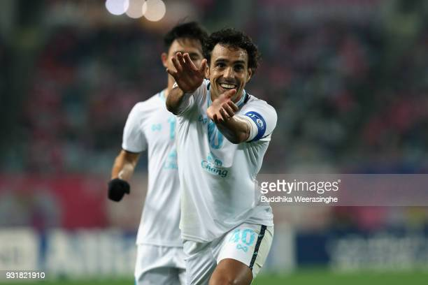 Diogo of Buriram United celebrates scoring his side's second goal during the AFC Champions League Group G game between Cerezo Osaka and Buriram...
