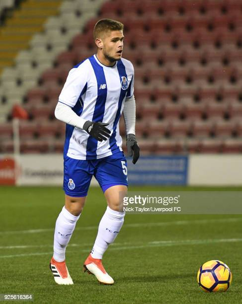 Diogo Queiros of Porto in action during the Liverpool v Porto Premier League International Cup game at Leigh Sports Village on February 28 2018 in...