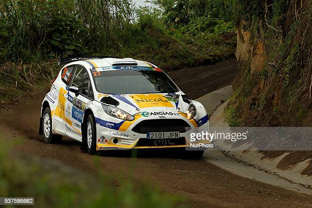 Diogo Salvi and Paulo Babo in Ford Fiesta R5 during the shakedow of the FIA ERC Azores Airlines Rallye 2016 in Ponta Delgada Azores Portugal on June...