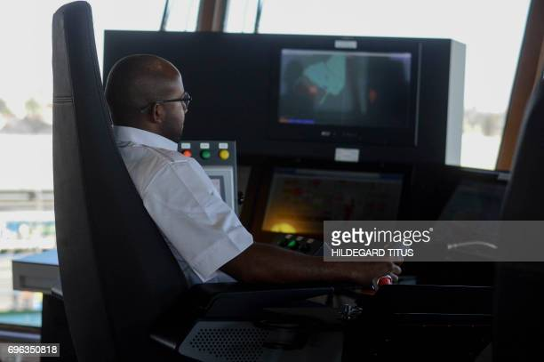 Dion Ankonga the seabed tool operator hands a joystick aboard the SS Nujoma a vessel built out of partnership between mining giant De Beers and the...