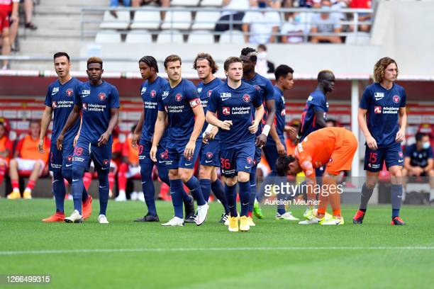 Dion Cools, Frank Onyeka, Jens-Lys Cajuste, Erik Sviatchenko, Anders Dreyer and Bozhidar Kraev arrive on the pitch for the friendly match between...
