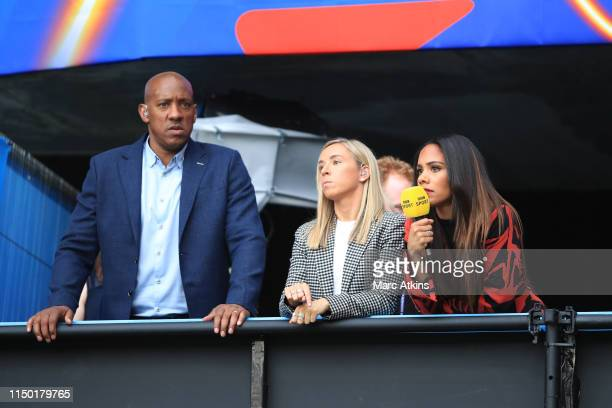Dion Dublin, Jordan Nobbs and Alex Scott look on from the TV studio during the 2019 FIFA Women's World Cup France group D match between England and...