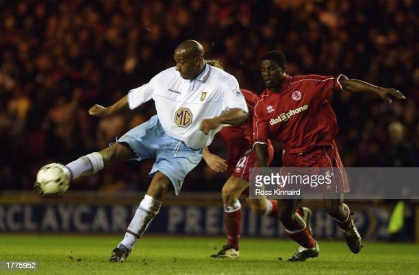 Dion Dublin of Aston Villa strikes the ball during the FA Barclaycard Premiership match between Middlesbrough and Aston Villa held on January 28 2003...