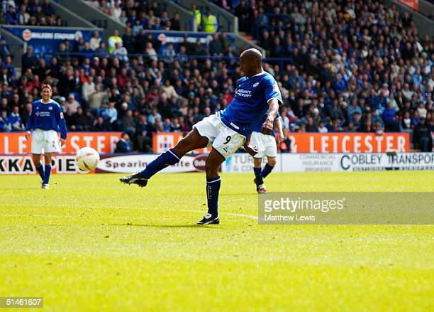 Dion Dublin of Leicester City during the CocaCola Championship match between Leicester City and Brighton and Hove Albion at the Walkers Stadium on...