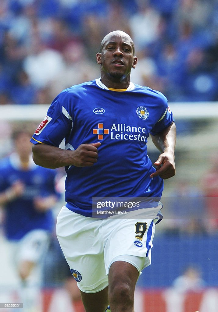 Dion Dublin of Leicester City in action during the Coca-Cola Championship match between Leicester City and Leeds United at the Walkers Stadium on May 1, 2005 in Leicester, England.