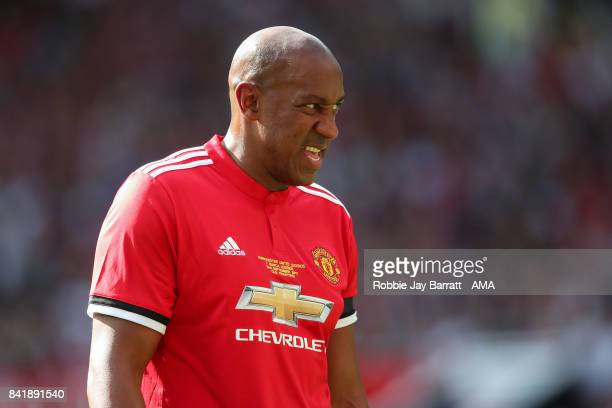 Dion Dublin of Manchester United Legends during the match between Manchester United Legends and FC Barcelona Legends at Old Trafford on September 2...