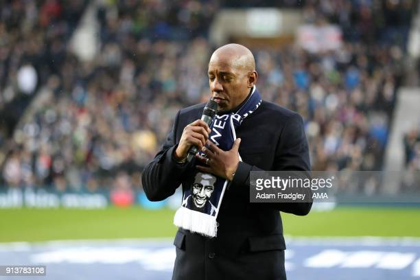 Dion Dublin talks for Cyrille Regis tribute prior to the Premier League match between West Bromwich Albion and Southampton at The Hawthorns on...