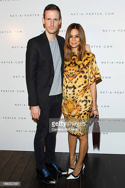 Dion Lee and Christine Centenera arrive at the NetaPortercom Fashion week cocktail party at Ananas on April 11 2013 in Sydney Australia