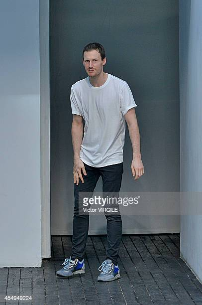 Dion Lee walks the runway at the Dion Lee fashion show during the MercedesBenz Fashion Week Spring 2015 at Hosfelt Gallery on September 6 2014 in New...