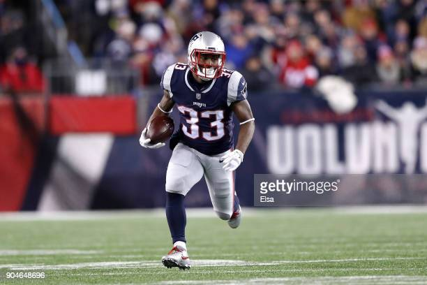 Dion Lewis of the New England Patriots carries the ball in the second quarter of the AFC Divisional Playoff game against the Tennessee Titans at...